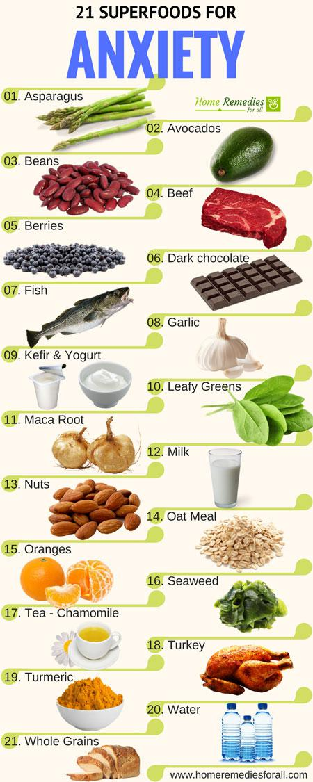 Superfoods To Ease Anxiety Infographics