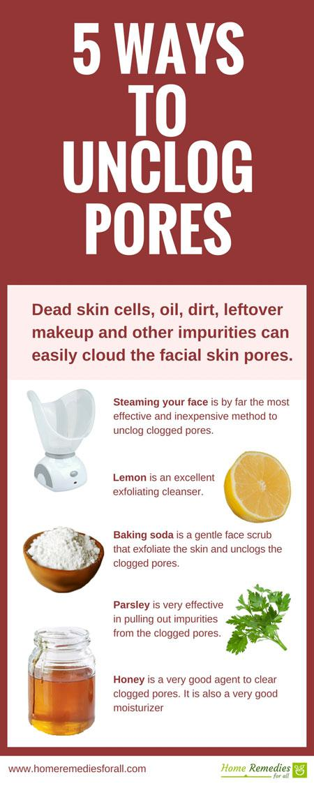 unclog skin pores infographic